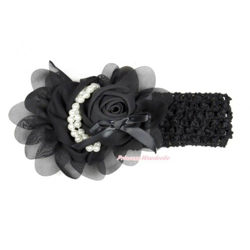 Black Headband With Black Petal Crystal Pearl Bow Rosettes Hair Clip H766
