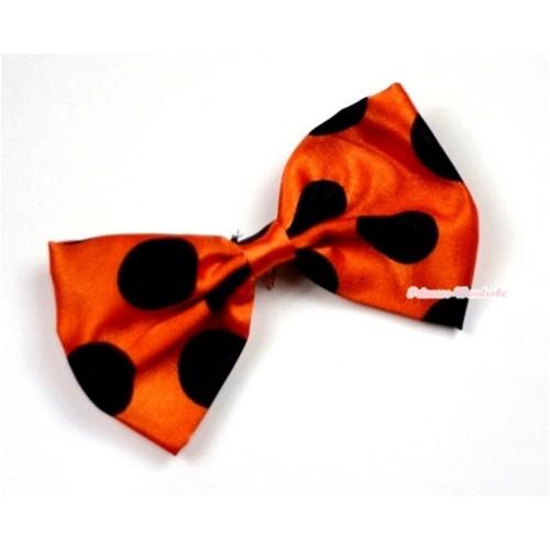 Orange Black Polka Dots Satin Bow Hair Clip H482