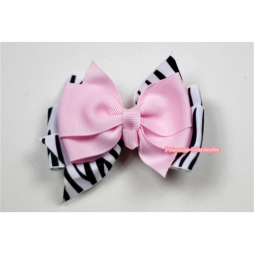 Light Pink Zebra Ribbon Bow Hair Clip H483