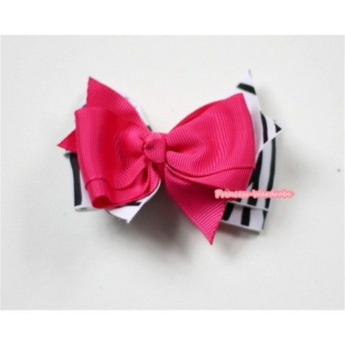 Hot Pink Zebra Ribbon Bow Hair Clip H484