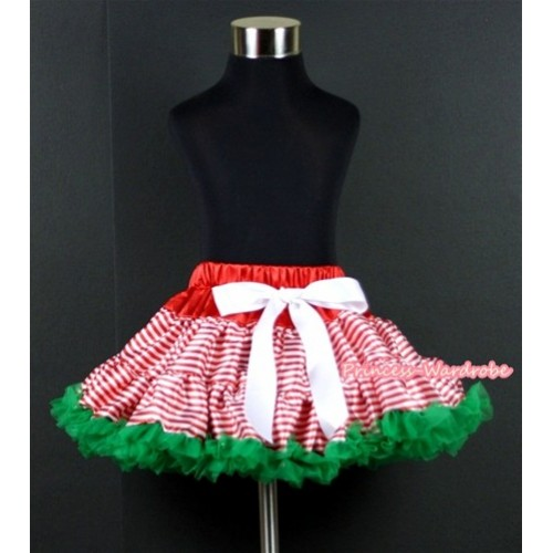 Red White Striped mix Christmas Green Patterns Full Pettiskirt P141