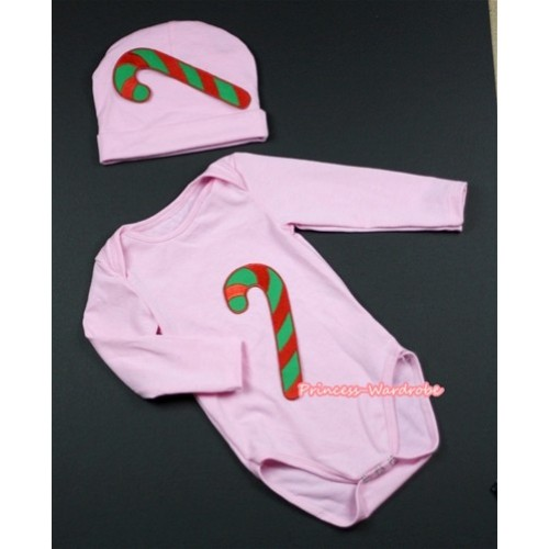 Light Pink Long Sleeve Baby Jumpsuit with Christmas Stick Print with Cap Set LS83
