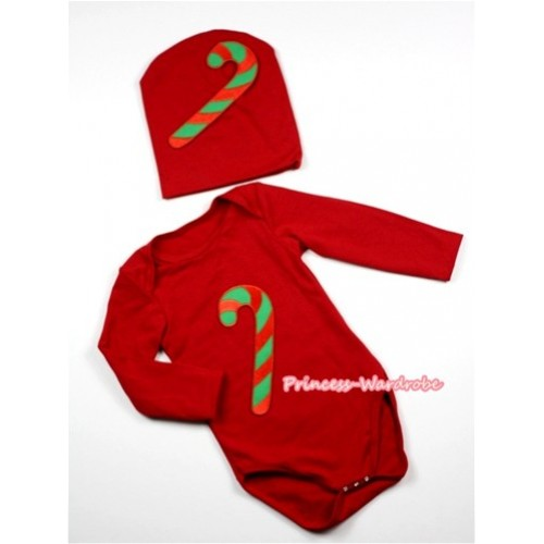 Hot Red Long Sleeve Baby Jumpsuit with Christmas Stick Print with Cap Set LS84