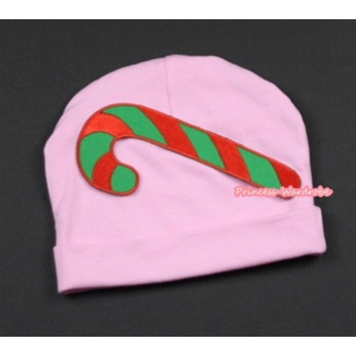Light Pink Cotton Cap with Christmas Stick Print TH268