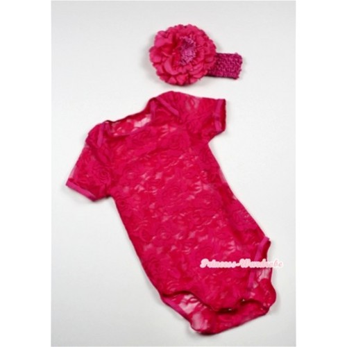 Hot Pink See Through Baby Jumpsuit with Hot Pink Headband & Hot Pink Peony TH272