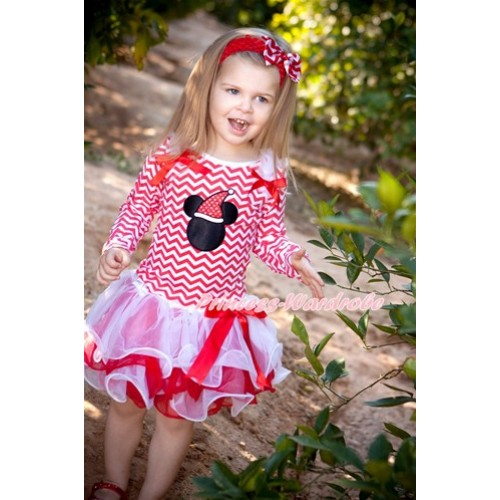 Xmas Red Bow White Red Petal Pettiskirt with Matching Red White Wave Long Sleeve Top with White Ruffles & Red Bow & Christmas Minnie Print MW336