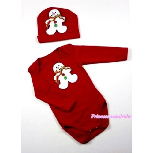 Red Long Sleeve Baby Jumpsuit with Christmas Gingerbread Snowman Print with Cap Set LS59