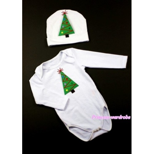 White Long Sleeve Baby Jumpsuit with Christmas Tree Print with Cap Set LS71