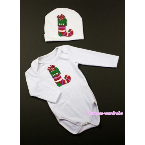 White Long Sleeve Baby Jumpsuit with Christmas Stocking Print with Cap Set LS73