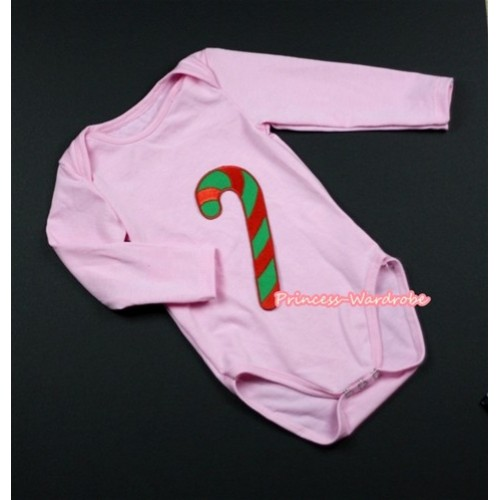 Light Pink Long Sleeve Baby Jumpsuit with Christmas Stick Print LS207