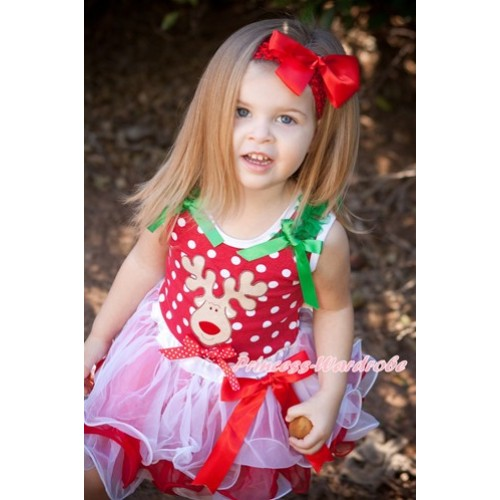 Xmas Minnie Dots Tank Top With Kelly Green Ruffles & Kelly Green Bow & Christmas Reindeer Print & Minnie Dots Bow With Red Bow Red White Petal Pettiskirt MH132