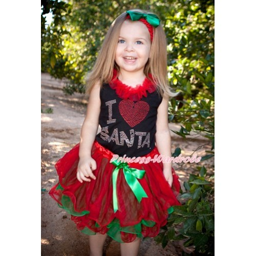 Xmas Black Baby Pettitop with Sparkle Crystal Bling I Love Santa Print with Red Chiffon Lacing with Kelly Green Bow Red Green Petal Newborn Pettiskirt NG1276