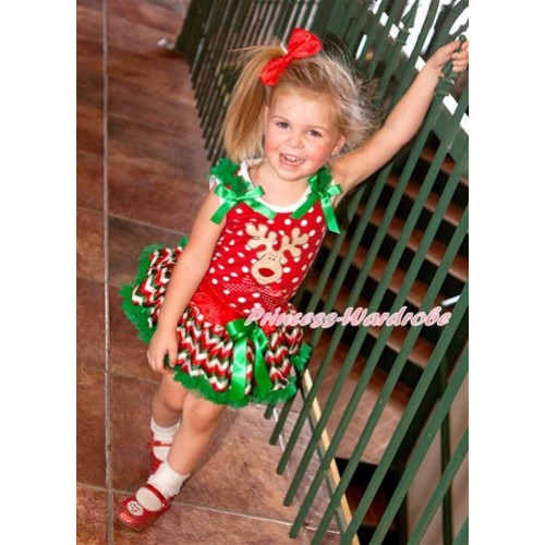 Xmas Minnie Dots Baby Pettitop with Christmas Reindeer Print & Minnie Dots Bow with Kelly Green Ruffles & Kelly Green Bow with Red White Green Wave Newborn Pettiskirt BG086