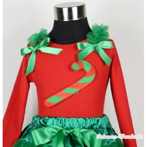 Christmas Stick Print Red Long Sleeves Top with Kelly Green Ruffles & Kelly Green Bow TW300
