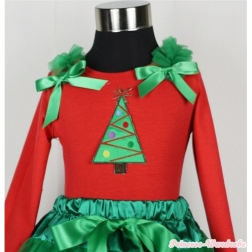 Christmas Tree Print Red Long Sleeves Top with Kelly Green Ruffles & Kelly Green Bow TW303
