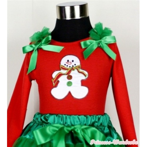 Christmas Gingerbread Snowman Print Red Long Sleeves Top with Kelly Green Ruffles & Kelly Green Bow TW307