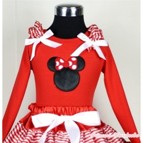 Minnie Print Red Long Sleeves Top with Red White Striped Ruffles & White Bow TW308