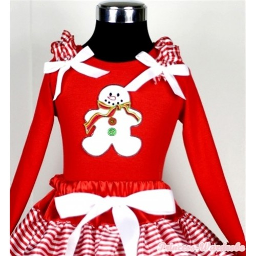 Christmas Gingerbread Snowman Print Red Long Sleeves Top with Red White Striped Ruffles & White Bow TW310