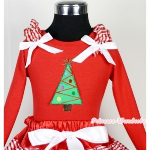 Christmas Tree Print Red Long Sleeves Top with Red White Striped Ruffles & White Bow TW314