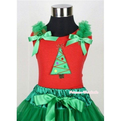 Christmas Tree Print Red Tank Top with Kelly Green Ruffles and Kelly Green Bow T606