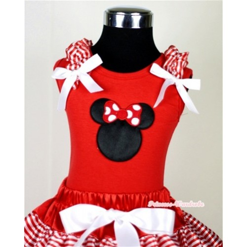 Minnie Print Red Tank Top with Red White Striped Ruffles and White Bow T610