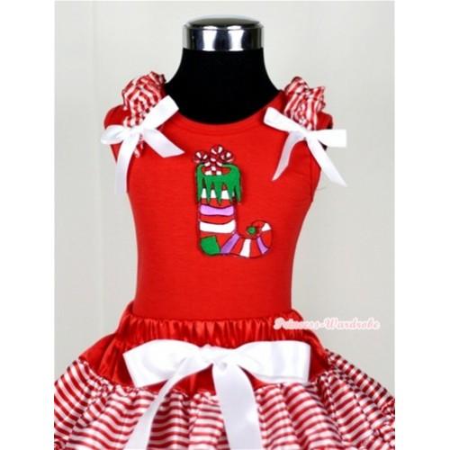 Christmas Stocking Print Red Tank Top with Red White Striped Ruffles and White Bow T616