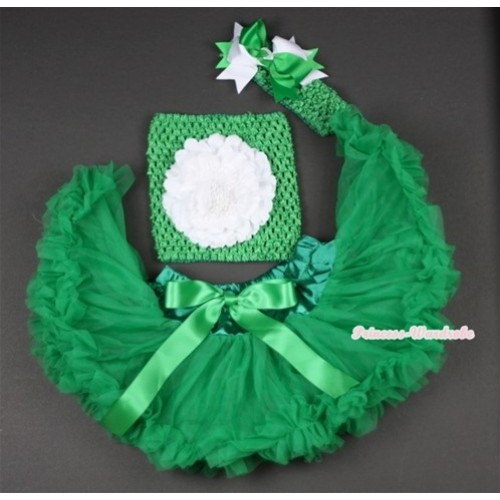 Kelly Green Baby Pettiskirt, White Peony and Green Crochet Tube Top,Green Headband with Green White Bow 3PC Set CT479