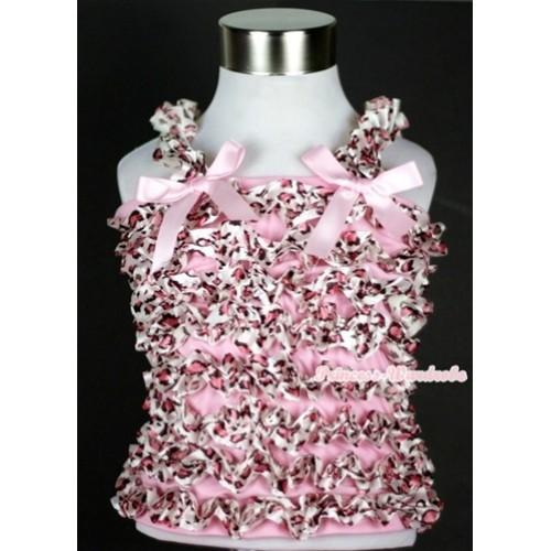 Light Pink Leopard Ruffles Tank Top with Light Pink Bow Ribbon NR26