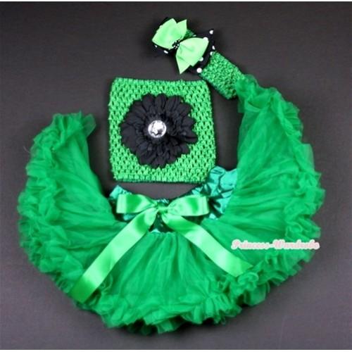 Kelly Green Baby Pettiskirt, Black Flower and Green Crochet Tube Top,Green Headband with Green & Black White Polka Dots Bow 3PC Set CT480