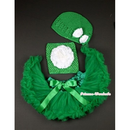 Kelly Green Baby Pettiskirt, White Peony and Green Crochet Tube Top,Green Crochet Hat with Green White Bow 3PC Set CT483