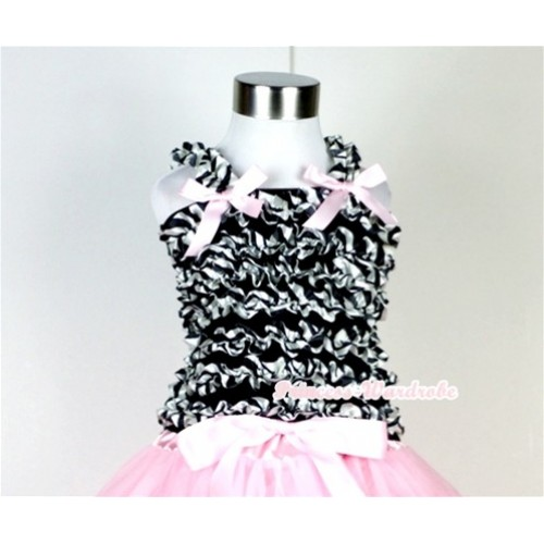 Black Zebra Ruffles Tank Top with Light Pink Bow Ribbon NR29