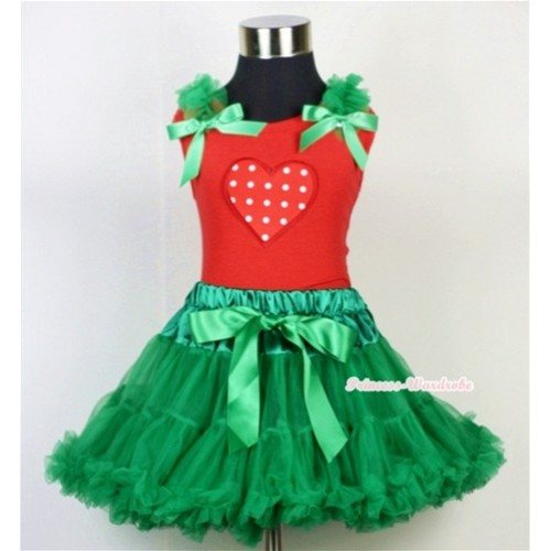 Kelly Green Pettiskirt & Red White Polka Dots Heart Print Red Tank Top with Kelly Green Ruffles and Bow CM106