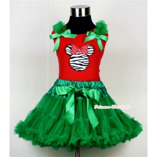 Kelly Green Pettiskirt & Zebra Minnie Print Red Tank Top with Kelly Green Ruffles and Bow CM109