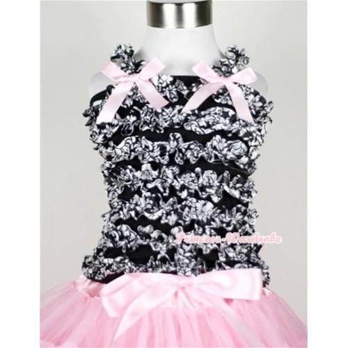 Black Damask Ruffles Baby Tank Top with Light Pink Bow Ribbon RT16