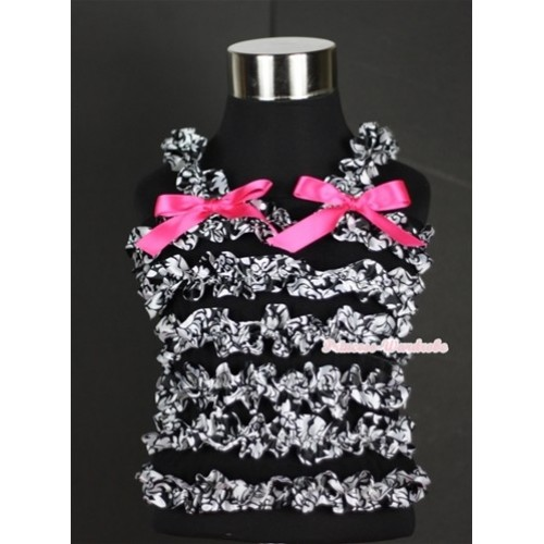 Black Damask Ruffles Baby Tank Top with Hot Pink Bow Ribbon RT18