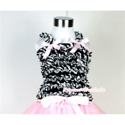 Black Zebra Ruffles Baby Tank Top with Light Pink Bow Ribbon RT20