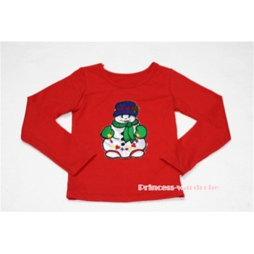 Christmas Scarf Snowman Red Long Sleeves Top TW81