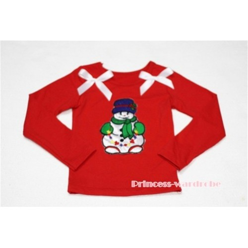 Christmas Scarf Snowman Red Long Sleeves Top with White Ribbon TW82