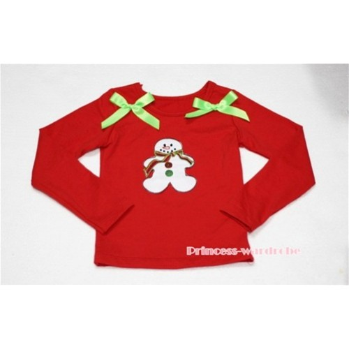 Christmas Gingerbread Snowman Red Long Sleeves Top with Light Green Ribbon TW86