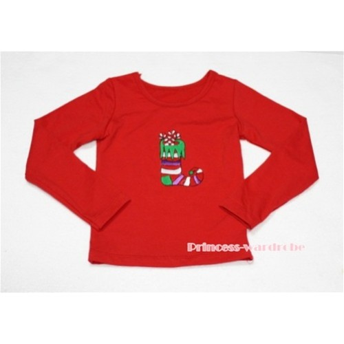 Christmas Sock Red Long Sleeves Top TW87
