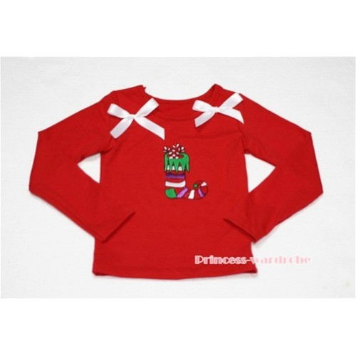 Christmas Sock Red Long Sleeves Top with White Ribbon TW88
