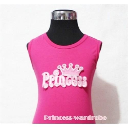 Hot Pink Tank Top with Princess Print TP104
