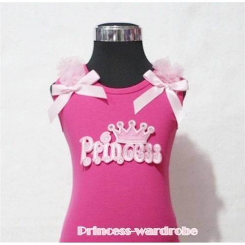Hot Pink Tank Top with Princess Logo Print with Pink Ribbon and Ruffles TP105