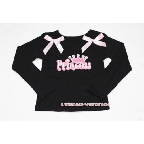 Black Long Sleeves Top with Crown Princess Logo Print with Pink Ribbon TW94