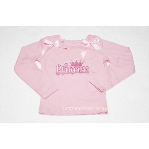 Pink Long Sleeves Top with Princess Logo Print with Light Pink Ribbon TW98
