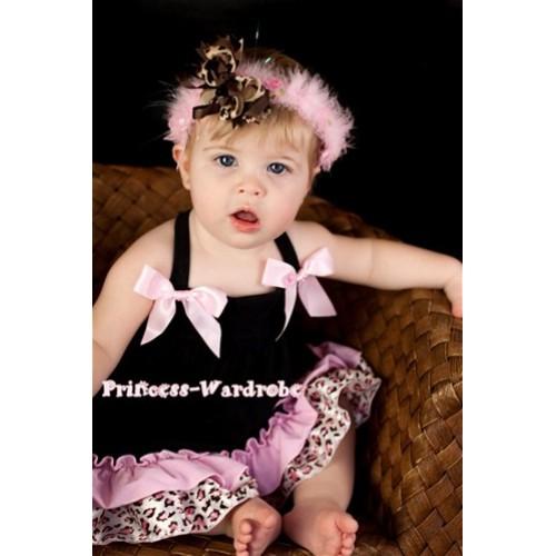 Light Pink Leopard Black Swing Top with Light Pink Bow with matching Light Pink Leopard Ruffles Black Panties Bloomers SP05
