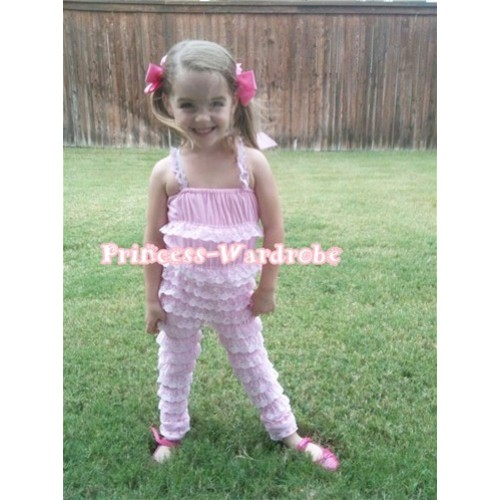 Long Sleeve Light Pink Lace Ruffles Petti Romper with Straps LR31