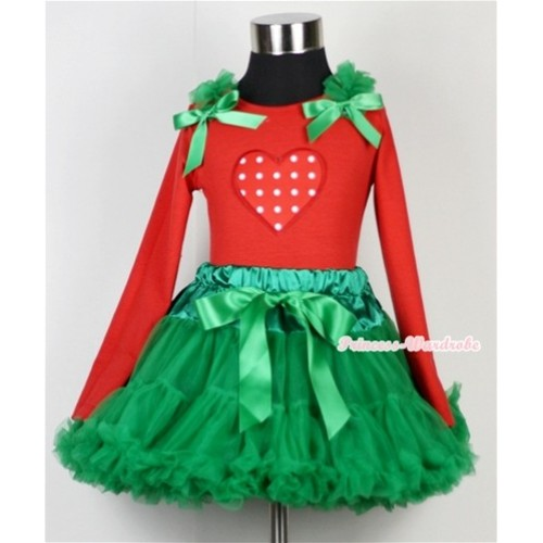 Kelly Green Pettiskirt  with Red White Polka Dots Heart Print Red Long Sleeves Top with Kelly Green Ruffles & Kelly Green Bow MB13