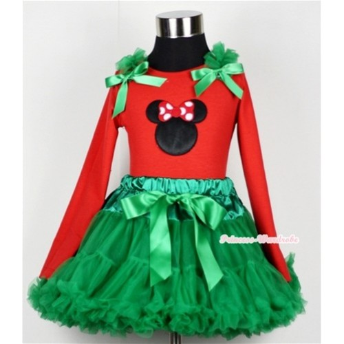 Kelly Green Pettiskirt  with Minnie Print Red Long Sleeves Top with Kelly Green Ruffles & Kelly Green Bow MB14