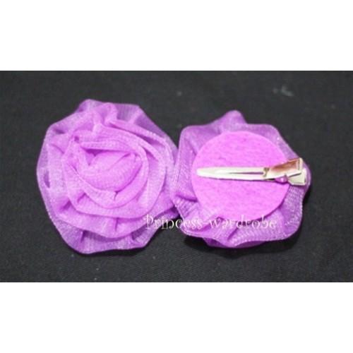 Dark Purple Rosettes Hair Pin H031